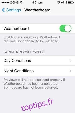 Obtenez des fonds d'écran météo animés sur votre iPhone avec Weatherboard