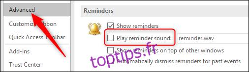 Comment modifier l'alerte de rappel d'Outlook
