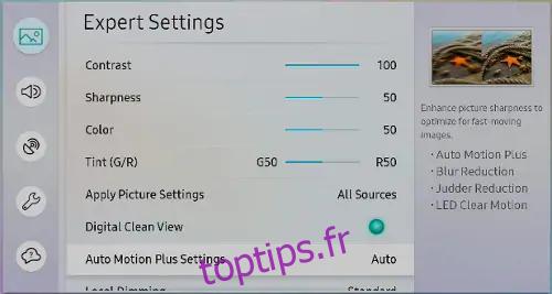 Paramètres d'Auto Motion Plus sur un téléviseur Samsung
