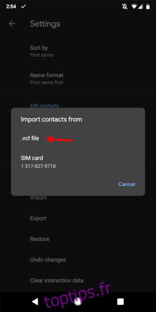 Importer un fichier VCF dans les contacts Android