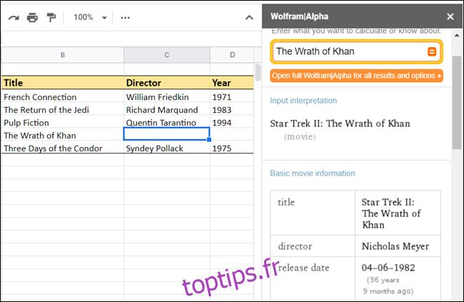 Capture d'écran de WolframAlpha