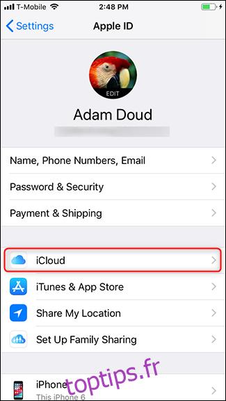 Appuyez sur iCloud.