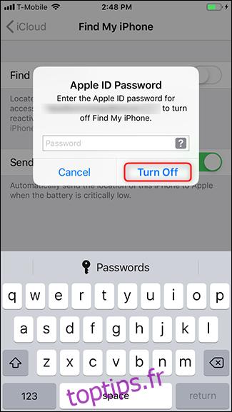 Entrez votre mot de passe et appuyez sur Désactiver.
