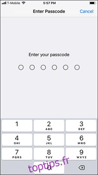 Saisissez votre mot de passe.