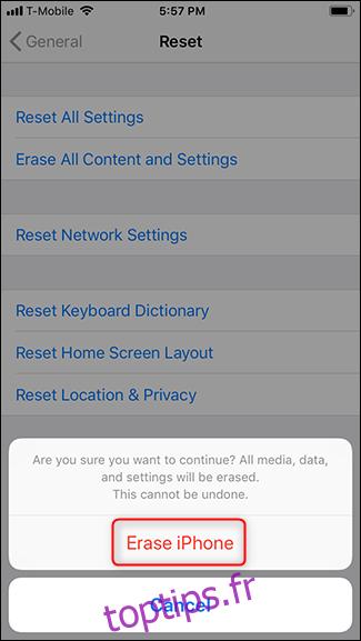 Appuyez à nouveau sur Effacer l'iPhone.
