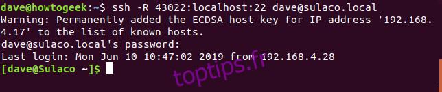 Détails de la connexion SSH dans une fenêtre de terminal