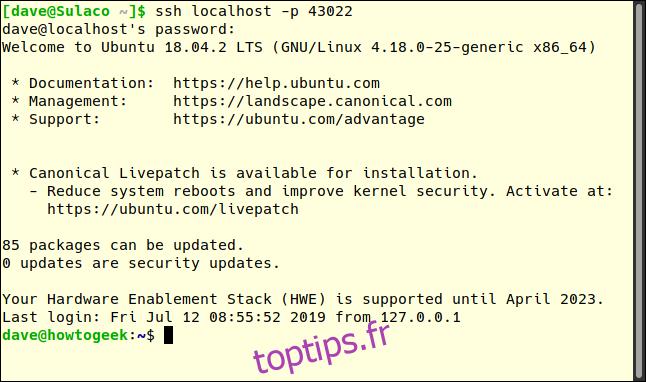 connexion inversée du tunnel SSH à l'ordinateur distant