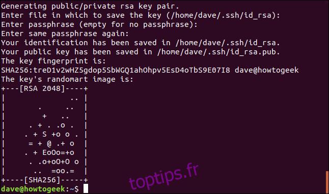 génération de clé ssh dans une fenêtre de terminal