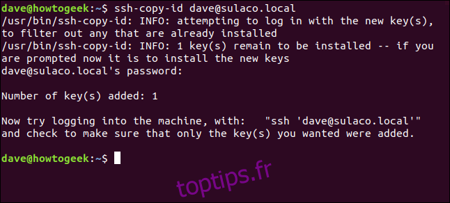 transfert de clés SSH vers l'ordinateur local dans une fenêtre de terminal