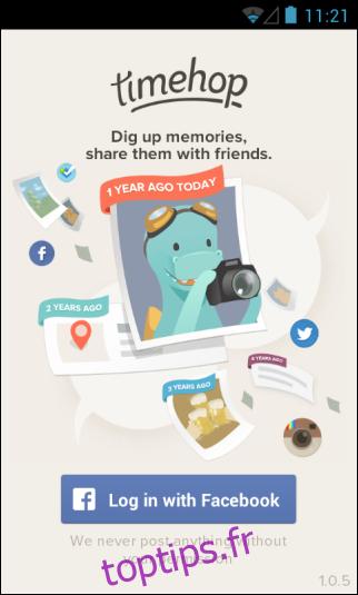 Timehop apporte son application de médias sociaux et de photo Time Machine sur Android