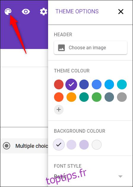 Personnalisez le thème en fonction de votre site Web avec l'icône de la palette.