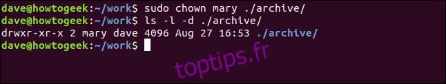 ls -l -d ./archive/ dans une fenêtre de terminal
