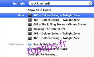 Type de recherche Spotlight