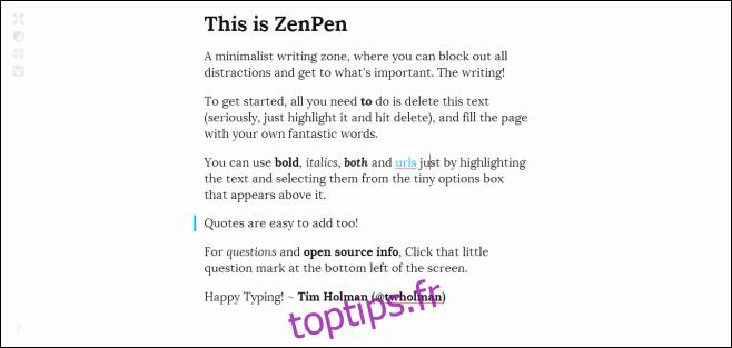 Un outil minimaliste sans distraction pour écrire en ligne