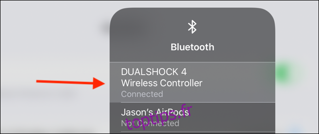 Appuyez sur le contrôleur dans le menu Bluetooth pour déconnecter
