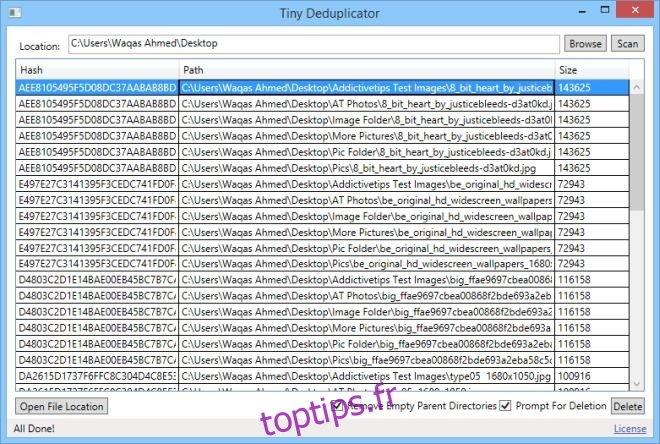 Tiny Deduplicator recherche les fichiers en double en fonction de la valeur de hachage