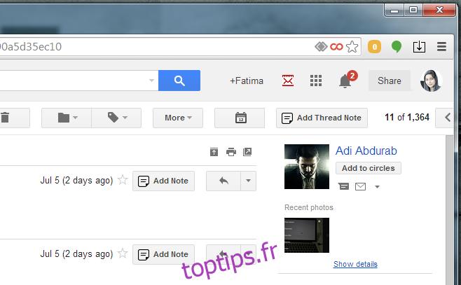 Ajouter des notes à un e-mail ou à un fil de conversation [Chrome]