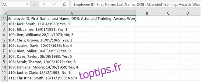 Comment créer une longue colonne en plusieurs colonnes dans Excel