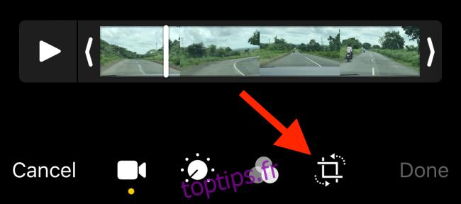 Appuyez sur le bouton Recadrer depuis l'écran d'édition vidéo