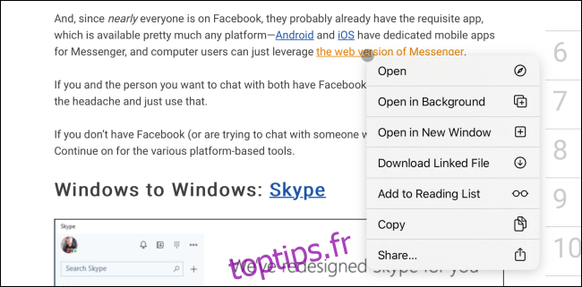 Menu contextuel du clic droit avec curseur dans Safari sur iPad