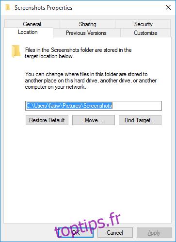 Modifier l'emplacement par défaut pour l'enregistrement des captures d'écran dans Windows 10