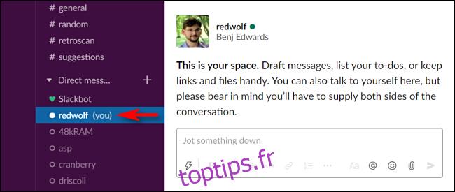 Comment vous envoyer des notes sur Slack
