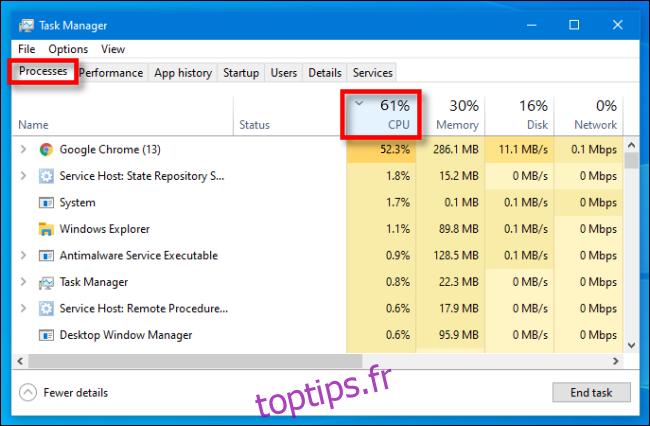 Dans le Gestionnaire des tâches sur Windows 10, sélectionnez le