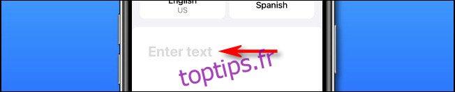 Dans Apple Translate sur iPhone, appuyez sur le