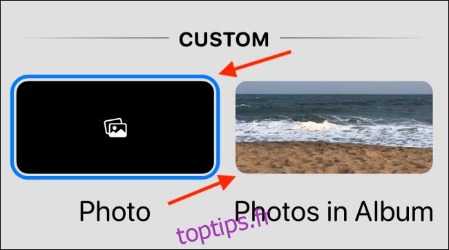 Choisissez l'option Photo ou Photos dans l'album