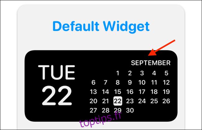Appuyez sur l'aperçu du widget