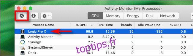 Dans Moniteur d'activité sur Mac, sélectionnez le processus et cliquez sur le bouton