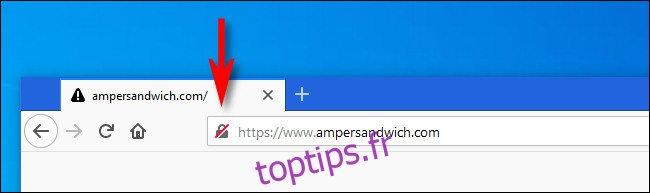 Dans Firefox, cliquez sur l'icône de verrouillage à côté de l'adresse du site Web.