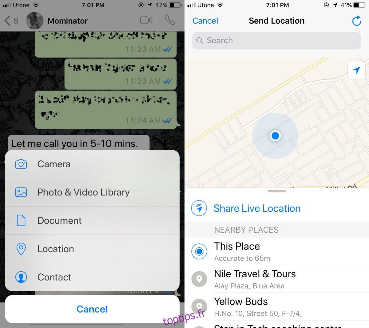 Comment partager votre position en direct sur Whatsapp