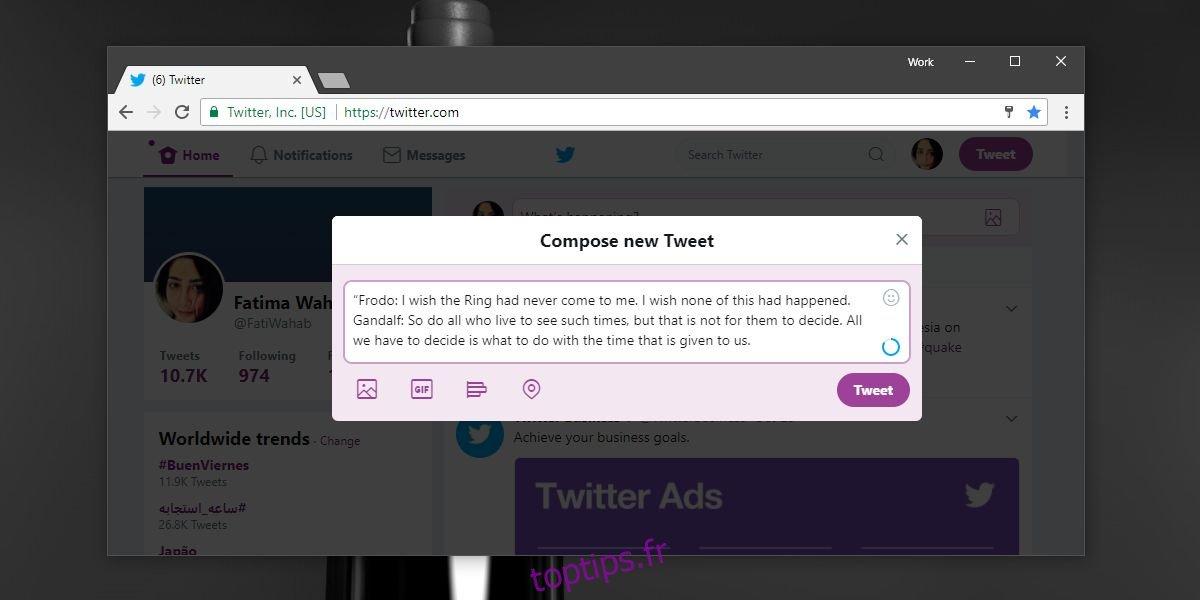 Comment restaurer le nombre de caractères sur Twitter [Chrome]