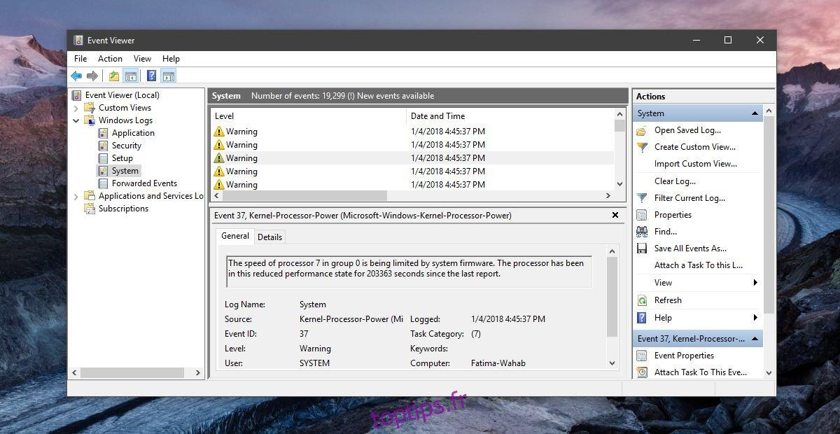 Comment réparer la vitesse du processeur est limité par le micrologiciel du système dans Windows