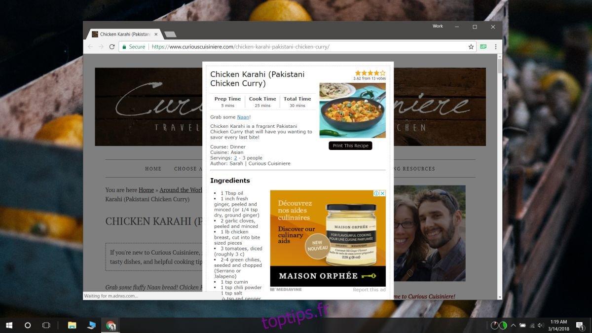 Comment détecter des recettes sur une page Web [Chrome]
