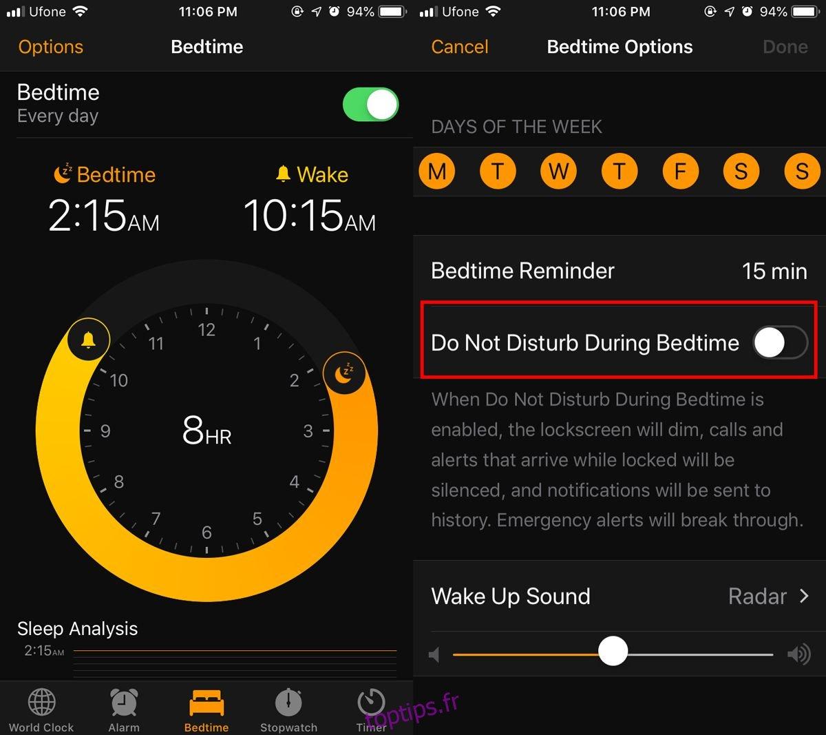 Comment activer Ne pas déranger pour l'heure du coucher sur iOS 12