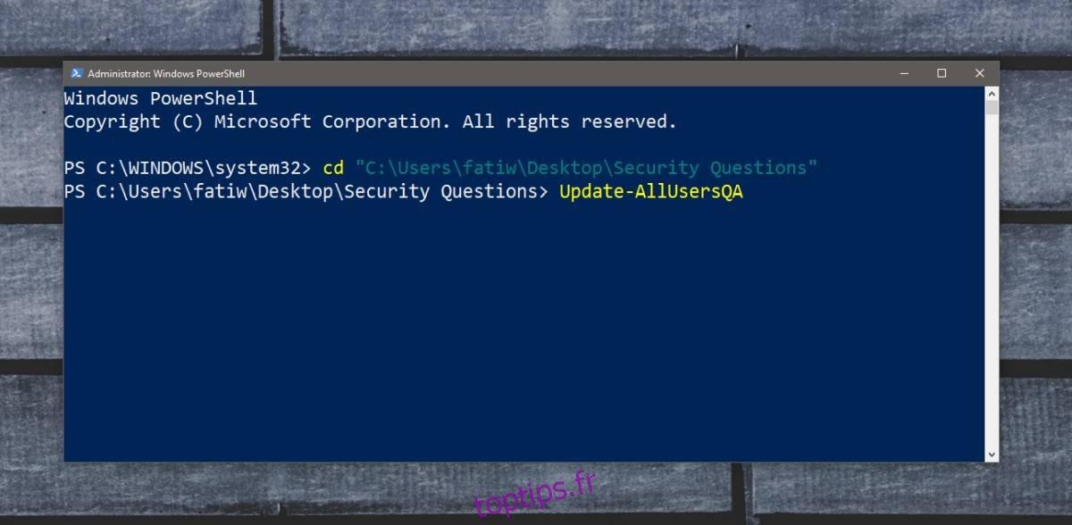 Comment désactiver les questions de sécurité sur Windows 10