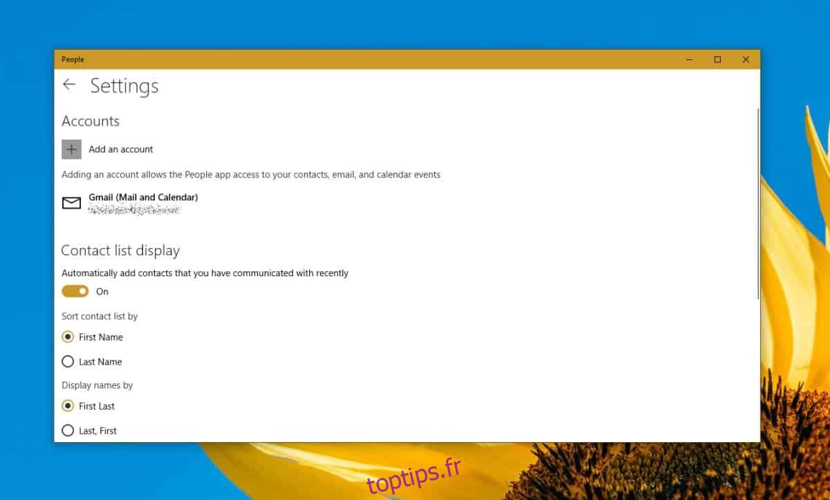 Comment supprimer des comptes de l'application Contacts sur Windows 10