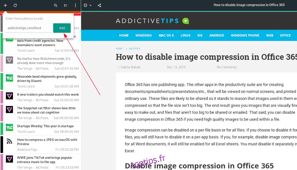 Comment configurer le lecteur RSS Feeds sur le bureau Linux