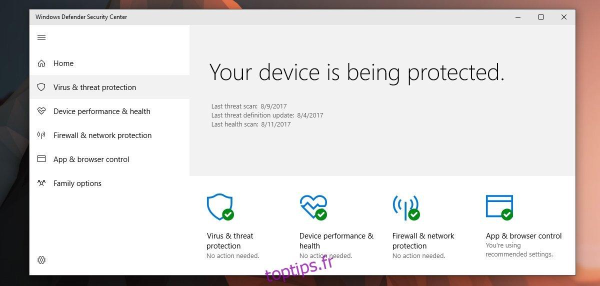 Comment désactiver la notification de résumé de Windows Defender dans Windows 10