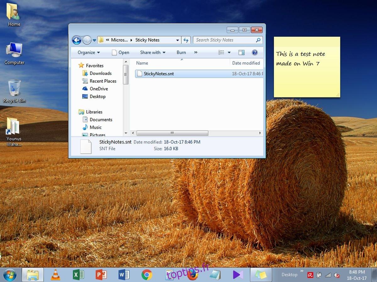 Comment exporter des notes autocollantes de Windows 7 vers Windows 10