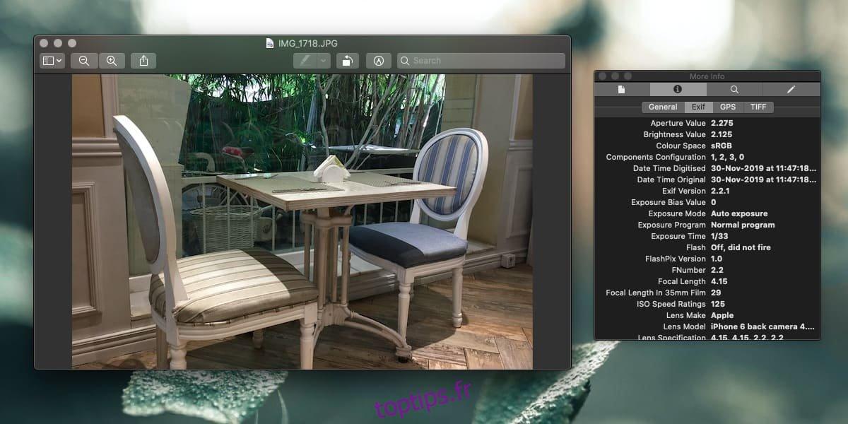 Comment supprimer les données EXIF de Photos sur macOS