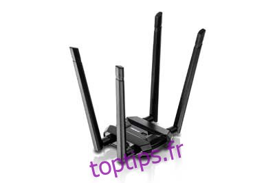 TRENDnet Adaptateur USB sans fil double bande haute puissance AC1900, TEW-809UB, augmentation de la couverture sans fil WiFi, antennes à gain élevé, diffusion vidéo 4K HD