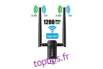 Adaptateur WiFi USB sans fil pour PC - 802.11AC 1200Mbps double antennes 5Dbi 5G / 2.4G WiFi USB pour PC de bureau