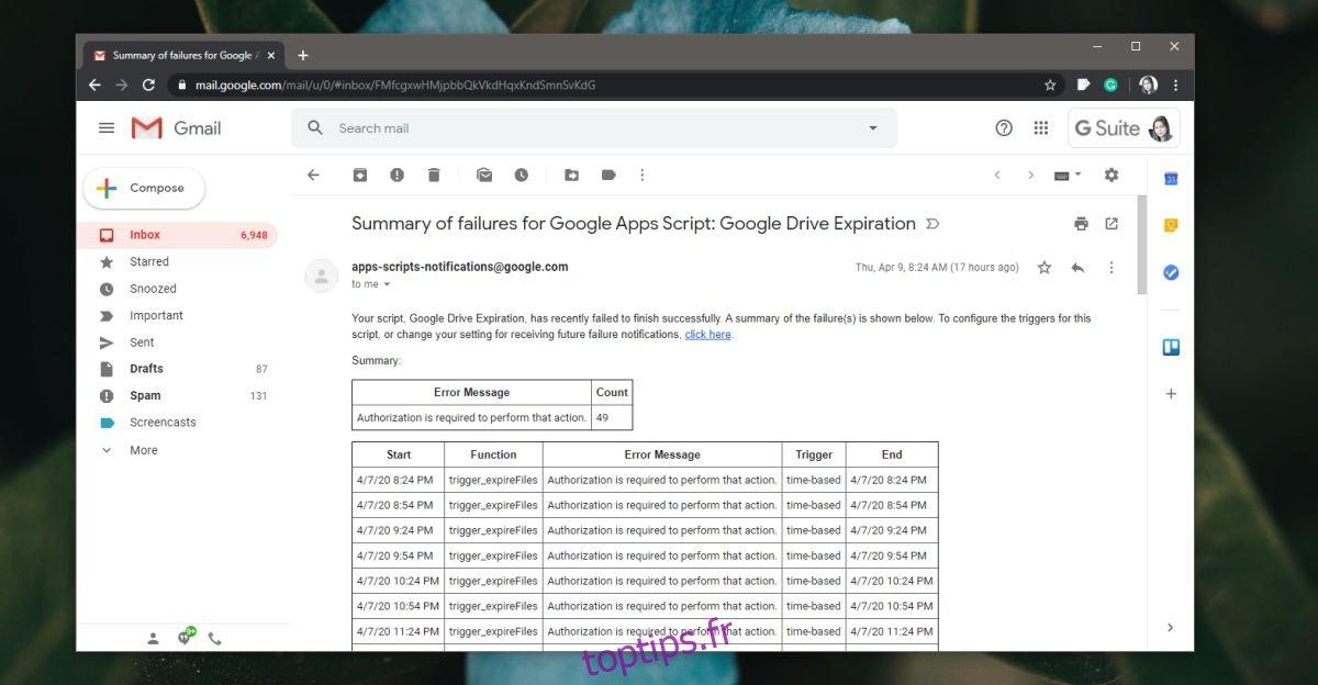 Comment arrêter les e-mails relatifs aux échecs des scripts Google Apps