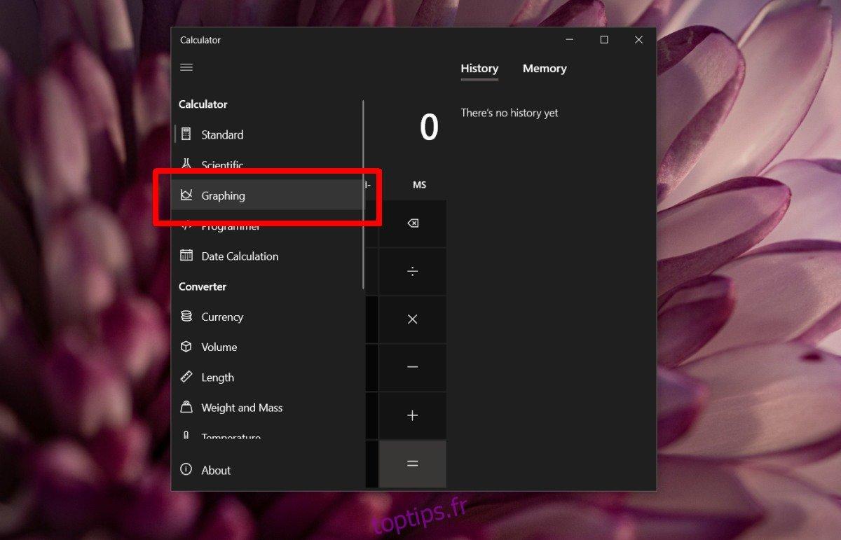 Comment utiliser le mode graphique dans la calculatrice sous Windows 10