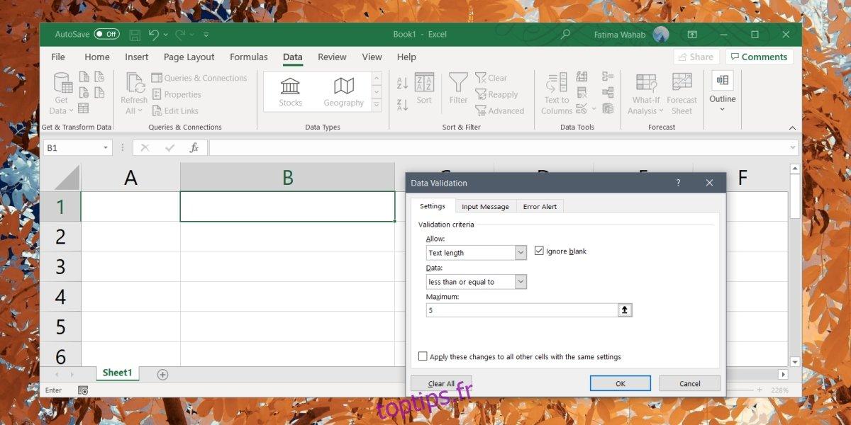 Comment ajouter une limite de caractères aux cellules dans Excel