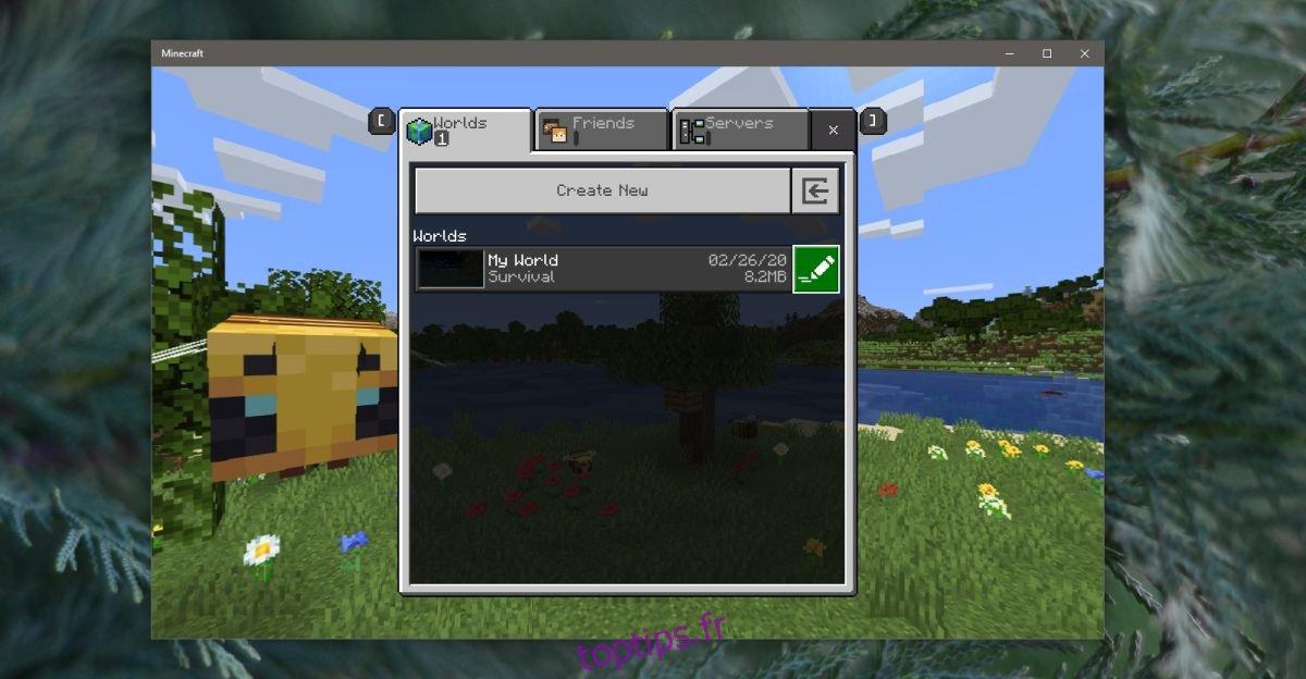 Comment changer le mode de jeu pour un monde dans Minecraft sur Windows 10