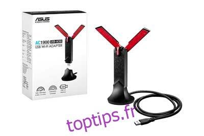 Adaptateur WiFi USB 3.0 double bande USB-AC68 AC1900 d'ASUS, berceau inclus